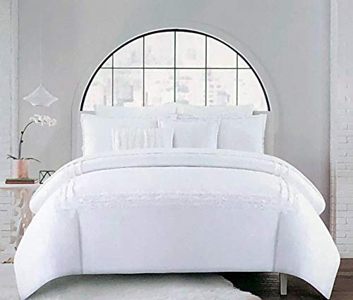 Hotel Collection 3pc Duvet Cover Set Solid White with Textured Fringed Embroidered Stripes ()