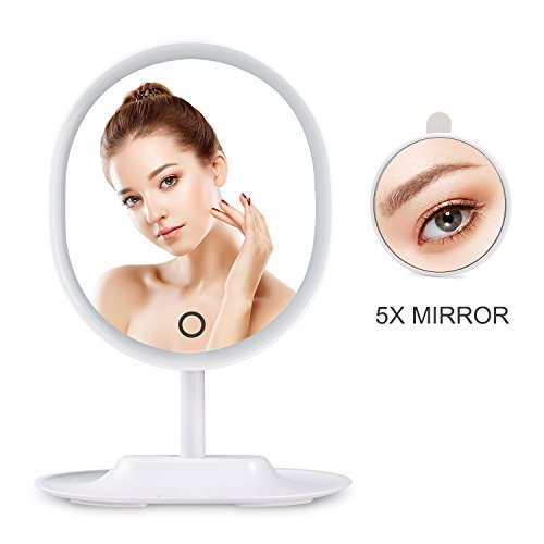 HAMSWAN RM223-DL Oval Shaped LED Lighted Makeup Mirror with Detachable 5X Magnifying Mirror Touch Screen Adjustable Brightness USB Charging (White)