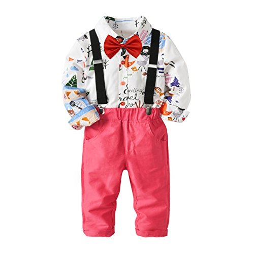 Baby Boys Fashion Gentleman Pants Clothing Set Long Sleeves Shirt+Suspender Colorful Pants+Bow Tie Toddler 4Pcs Set (Forest+Pink, 5-6T/120)]()