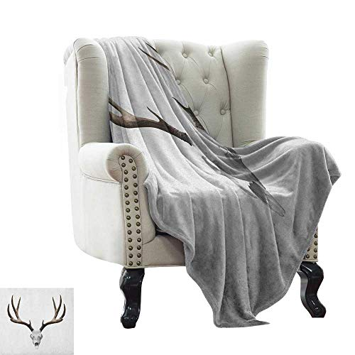 throw blanket for couch Antlers,A Deer Skull Skeleton Head Bone Halloween Weathered Hunter Collection, Warm Taupe Pale Grey all seasons Anti-Static Couch Blanket Travelling Camping Blanket 60