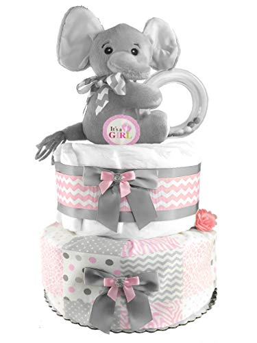 Elephant Diaper Cake - Baby Shower Gift - Centerpiece - Pink and Gray