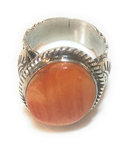 Navajo Orange Spiny Oyster Sterling Silver Ring Size 11. By Russell Sam from Nizhoni Traders LLC