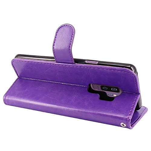 LK Galaxy S9 Plus Case, [Wrist Strap] Luxury PU Leather Wallet Flip Protective Case Cover with Card Slots and Stand for Samsung Galaxy S9 Plus (Purple) by LK (Image #5)