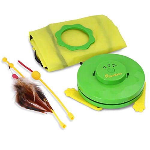 Pawaboo Pet Teasing Toy, Undercover Mouse Electronic Interactive Cat Toy - GREEN & YELLOW by PAWABOO