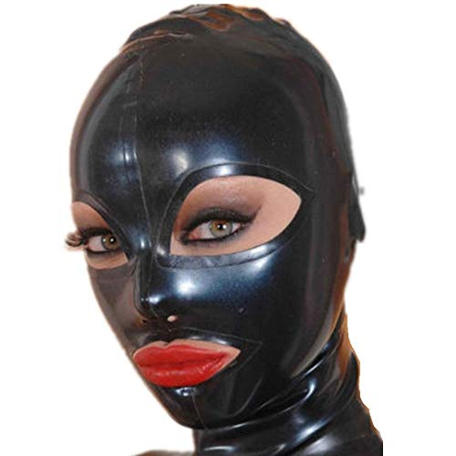 Sexy Full Face Natural Latex Hood Open Eye for Women Halloween Party Mask (M) Black