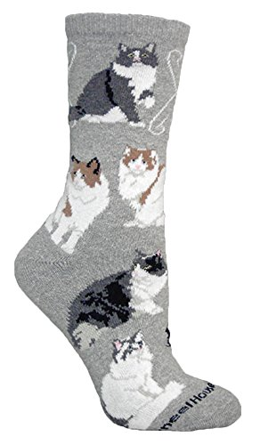 (Ragamuffin Cats Grey Novelty Adult Socks by Wheel House Designs USA Made SKU PH 1027)