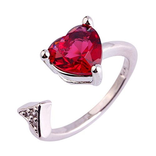 (Psiroy 925 Sterling Silver Created Pink Tourmaline Filled Heart Arrow Open Adjustable Fashion Ring for Women Size 6)
