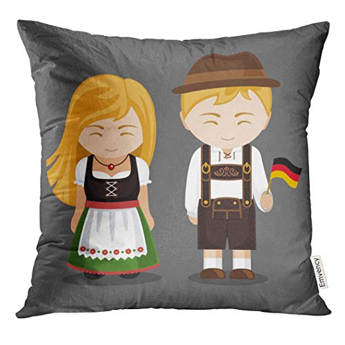 UPOOS Throw Pillow Cover Germans in National Dress with Flag Man and Woman Traditional Bavarian Costume Travel to Germany People Decorative Pillow Case Home Decor Square 16x16 Inches Pillowcase]()