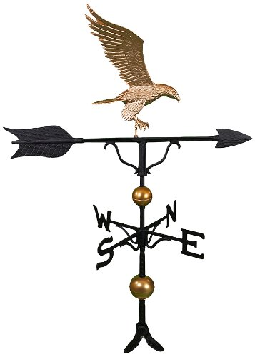 Montague Metal Products 52-Inch Deluxe Weathervane with Full Bodied Gold Eagle Ornament