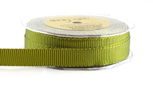 May Arts 5/8-Inch Wide Ribbon, Olive and Lime Grosgrain