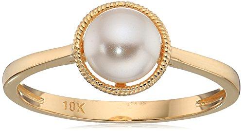 (10k Gold Swarovski Crystal Pearl June Birthstone Ring, Size 6)