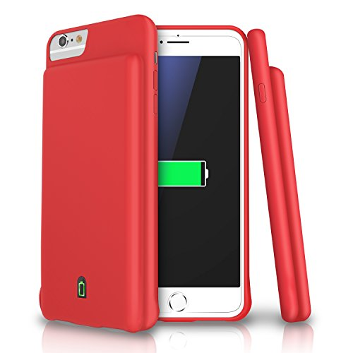 iPhone 8 / 7 / 6s / 6 Battery Case, LoHi 4500mAh Capacity Support Headphones Ultra Slim Extended Battery Rechargeable Protective Portable Charger 4.7 Inch Red