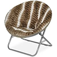 Cocoon WK655673 Ombre Wave Textured Faux Fur Saucer Chair, Light Brown