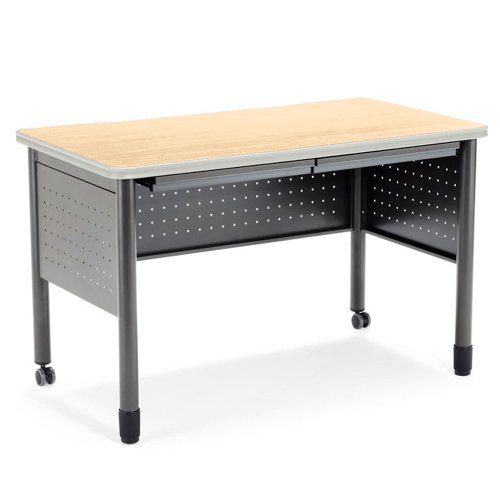 - OFM Mesa Series Training Table with Drawer - Durable Mobile Utility Desk with Drawers, Maple, 25.5