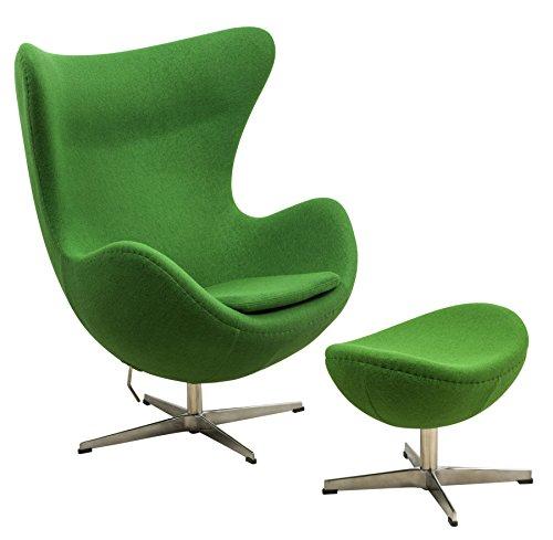 (LeisureMod Arne Jacobsen Egg Chair & Ottoman in Green Wool)