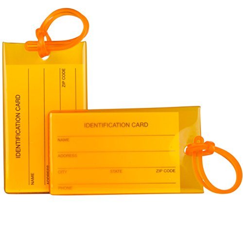 2 Pack TravelMore Luggage Tags For Suitcases, Flexible Silicone Travel ID Identification Labels Set For Bags & Baggage - Orange ()