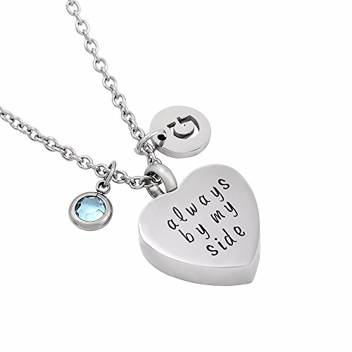 Always with You Heart Cremation Jewelry for Ashes Mom/Dad Keepsake Memorial Urn Pendant Necklace with Birthstone & Letter Accessories (2)