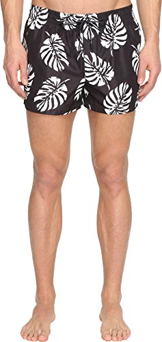 Dolce & Gabbana Men's Palm Frond Swim Trunks Black Swimsuit Bottoms by Dolce & Gabbana