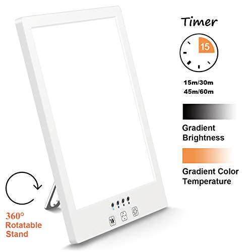 Comenzar Sun Lamp LED White Warm Lamp UV Free 2000-12000 Lux Gradient Brightness Timer Function and Touch Control for Home Office Use