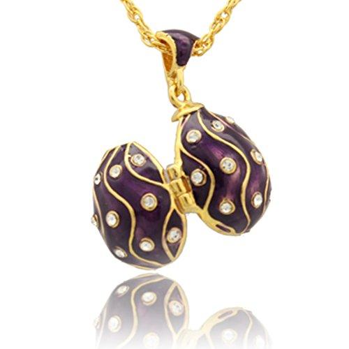 MYD Jewelry Enameled Clear Crystal Faberge Egg Locket Pendant Necklace (Purple)