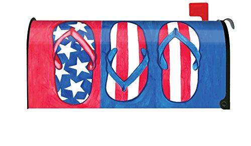 Toland Home Garden Patriotic Flips Summer Flip Flops Sandal Magnetic Mailbox Cover