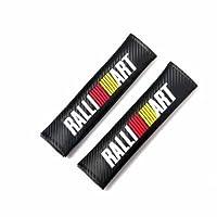 2Pcs Ralliart Carbon Fiber Leather Seat Belt Cover Shoulder Pads For MITSUBISHI EVO