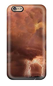 Iphone 6 Case Cover - Slim Fit Tpu Protector Shock Absorbent Case (clouds And Lightning) by mcsharks