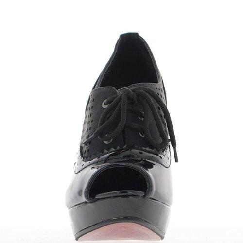 Richelieux schwarze Frau offen für 12cm Heels und Plattform-2,5 cm