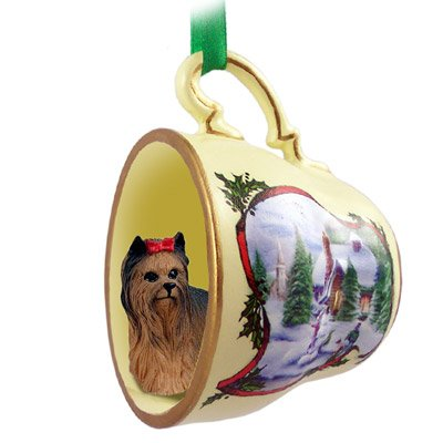 Yorkshire Terrier in Holiday Scene Teacup Christmas - Terrier Ornament Teacup Christmas