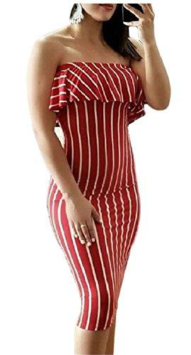 Jaycargogo Femmes Hors Bande Épaule Mini-robes À Volants Moulante Club Rouge