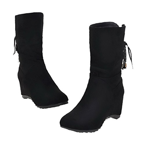 AgooLar Women's Round-Toe Kitten-Heels Frosted Solid Lace-up Boots Black IMC9WK5Jal
