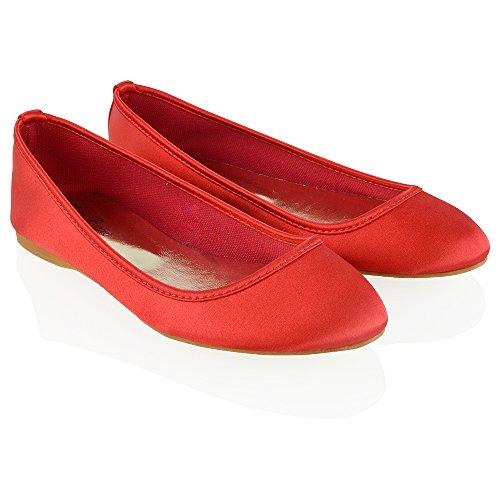 Fiore GLAM Scarpa Satinato Satinato Ballerina ESSEX di Ragazza Nuziale Donna Rosso 8Xw8adq1