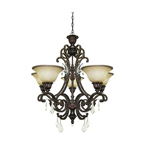 Chandeliers 5 Light Bulb Fixture with Multi Tone Bronze Finish Caramelized Glass with Crystal Jewels Medium 28