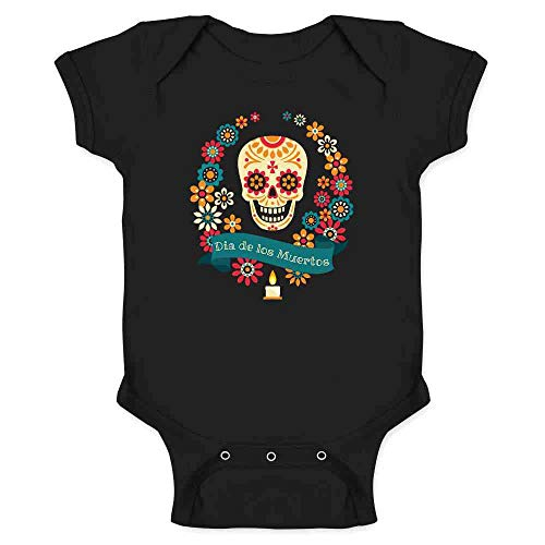 Dia de Los Muertos Sugar Skull Halloween Horror Black 18M Infant Bodysuit -