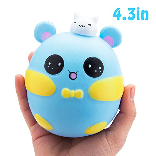 R ? HORSE Jumbo Cute Rabbit Pig Kawaii Cream Scented Squishies Slow Rising Decompression Squeeze Toys for Kids or Stress Relief Toy Hop Props, Decorative Props Large (Blue Cutie Pig)