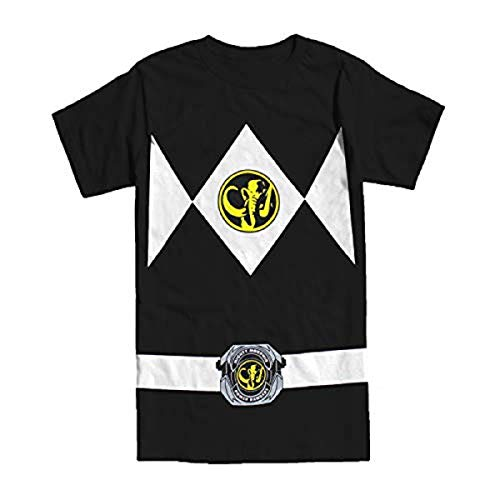 The Power Rangers Black Rangers Costume Adult T-shirt Tee, Black, -