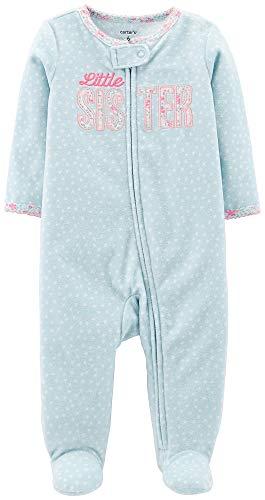 Carter's Baby Girls' Snowman Fleece Pajama (Little Sister Blue, Newborn)