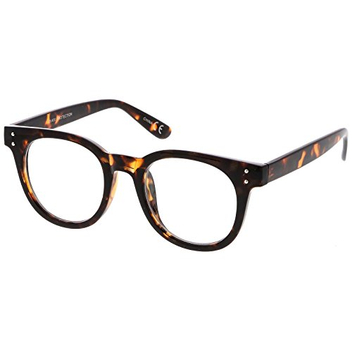 sunglassLA - Classic Horn Rimmed Eyeglasses With Rivet Accent Wide Arms Clear Lens 48mm (Shiny Tortoise / - Parker Warranty Warby
