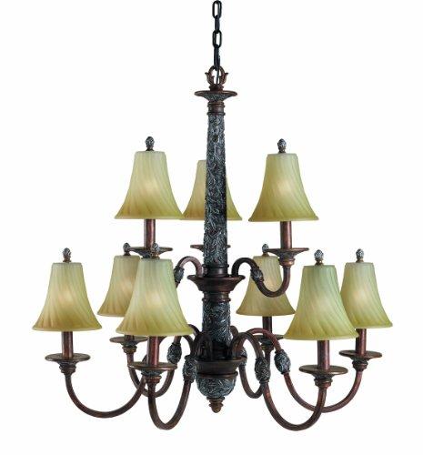 Woodbridge Lighting 15033-BRK Vergennes 9-Light Chandelier, Bark -
