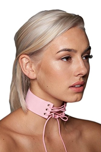 Pink Lace Marie Antoinette Costumes (Lace-up Faux Suede Choker (Pink))