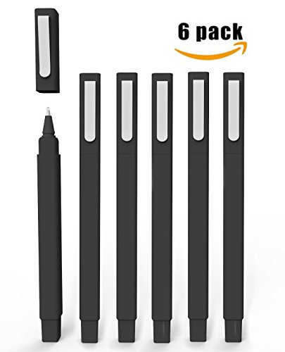 (Ball Pens, Vivii Premium Gel Ink Roller Ball Pens, Fine Point, Black Ink, 6 Per Box, Extra Fine(0.5mm)))