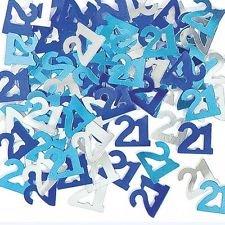 Send Balloons Same Day (Blue & Silver Sparkle Happy 21st Birthday Confetti Foil Sprinkles)