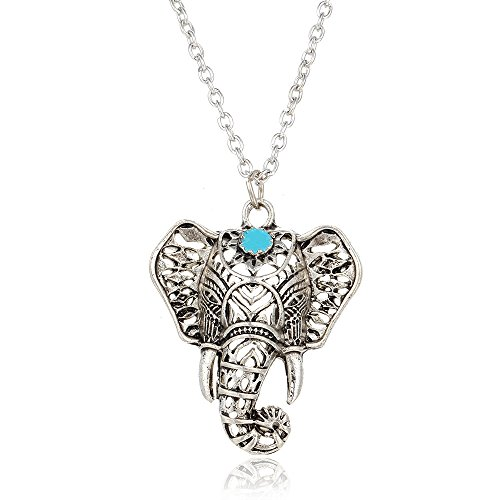 Cat Lion Costume Ebay - Retro Silver Tone Tribal Engrave Elephen Pendant Necklace for Women Girl Sets