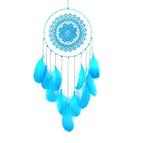 Gbell Handmade Lace Dream Catcher Feather Bead Hanging Decoration Ornament Gift  Blue