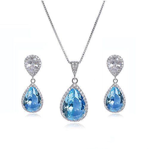 AMYJANE Wedding Jewelry Set for Women - Sterling Silver Teardrop Aquamarine Blue Cubic Zirconia Crystal Rhinestone Drop Earrings and Necklace Bridal Jewelry Sets Best Gift for ()