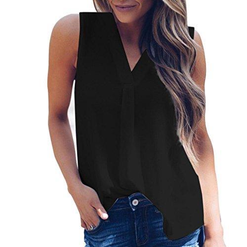Bluestercool T-Shirt Donna Senza Maniche Sexy Estive Maglietta Camicetta Blusa Nero