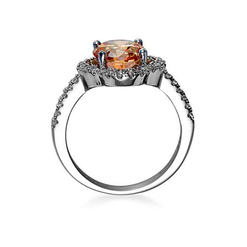 9 Anna Jewelry Four Leaf Clover Design Natural Champange Topaz Gems Silver Woman Ring Size 6-10