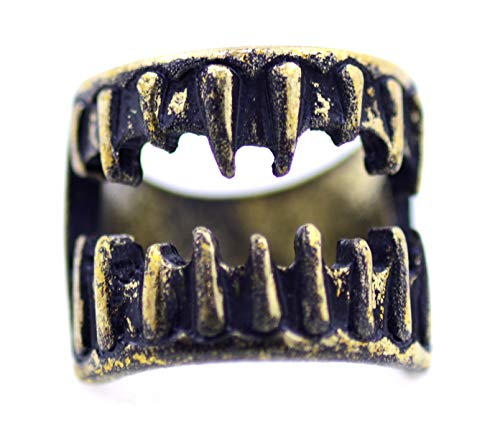 Lizzyoftheflowers - Bronze Coloured Scary Teeth Ring. UK Size N. Halloween Fangs]()