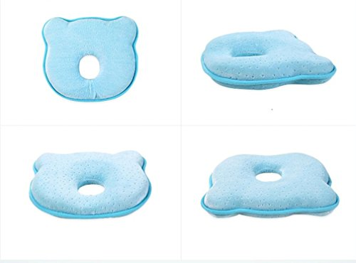 Soft Memory Foam Newborn Baby Head Positioner Neck Support Pillow Prevent And Adjust Flat & Deflective Head Syndrome Sleeping Pillow For 0-12 Months Infant, 10 Inches Bear Shape (Blue) by Hiujing (Image #6)