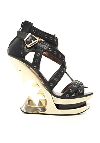 Hades Shoes Taunt Gold Wedge Heel Accented with Metal Eyelets Black